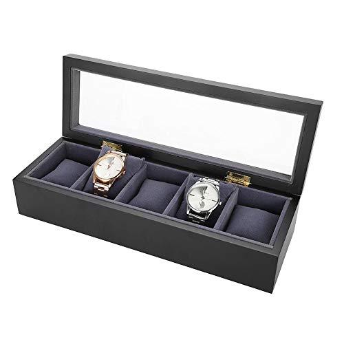 Horloge Box, 5 Grids Fornuis Vernis Horloge Display Case Opbergdoos Organizer Horloge Sieraden Armband Display Glas Deksel Box