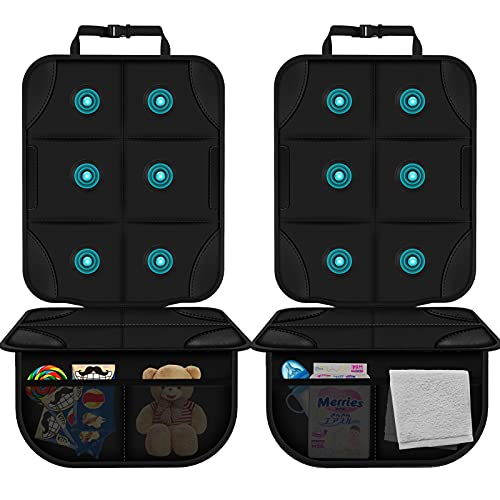 Panpany Car Seat Protector Carseats Cover - 2 Pcs with Extra Large Storage Space Carseat Seat Protectors/Seat Protector Anti-Slip and Dirt Resistant Easy to Clean for Families with Pets and Children