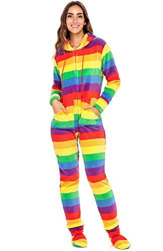 Alexander Del Rossa Women's Warm Fleece One Piece Footed Pajamas, Adult Onesie with Hood, Medium Rainbow (SKU-A0322W47MD)