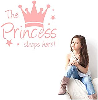 Oban Princess's Sleep Here Wall Sticker with Children's Crown Lettering Vinyl Decal Wall Sticker Children's Room Decor For...