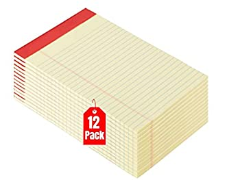 1InTheOffice Yellow Legal Pads 5x8 Notepad Narrow Ruled Canary 50 Sheets/Pad Dozen Pads/Pack