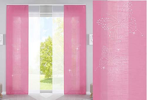 4er Set Schiebegardinen Flächenvorhänge Butterfly Strass Vorhänge Gardinen Pink HxB 245x60 cm mit Paneelwagen Beschwerungsstangen, 85626N2
