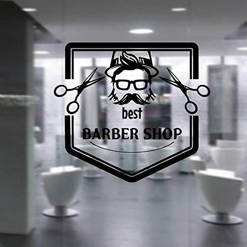 ZJfong Vinyl Decal Bril Snor Brood Schaar Beste Barbershop Schoonheid Stylist Haarsalon Mural 57x65cm