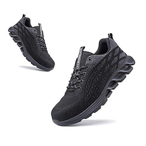 Zapatos de Seguridad Hombre Punta de Acero Botas de Seguridad Mujer Deportiva Zapatillas Trabajo Unisex Antideslizante Respirable 1 Negro Talla 45