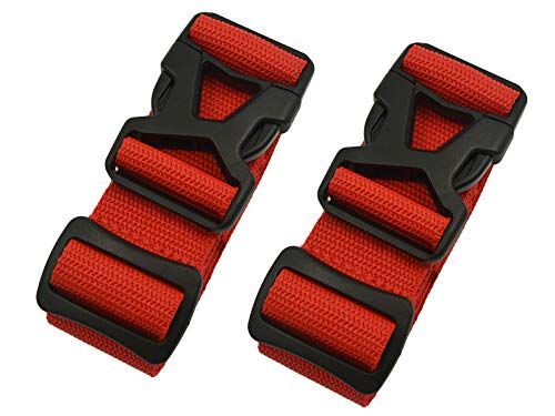 Luggage Straps - Adjustable Suitcase Packing Belts with Buckle Closure Travel Accessories by Riemot(3.8 * 200CM+3.8 * 230CM)Red