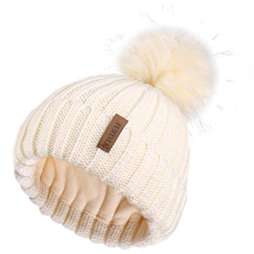 FURTALK Womens Knitted Winter Pom Beanie Hat Faux Fur Pom Pom Bobble Hat Beanie for Girls