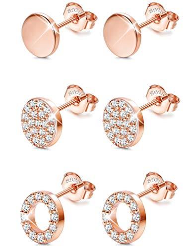 Sllaiss 3 Paar Sterling Silber Runde Ohrstecker Set für Frauen Mädchen CZ Pflastern Ohrringe Mini Dot Runde Disc Ohrstecker Hypoallergen