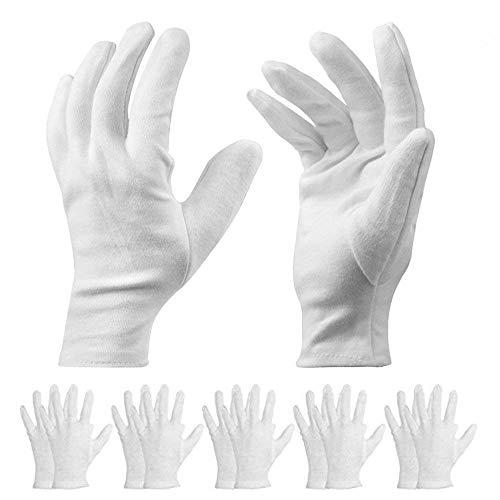 10Paar weiße Baumwoll-Handschuhe–für Kosmetika und Feuchtigkeitscremes, geeignet für trockene Hände und Ekzeme, auch für Schönheitscremes und zum Berühren von Münzen, Schmuck und Silber–Unisex.