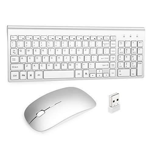 Wireless Keyboard and Mouse Combo USB Ergonomics Thin Compatible with Windows Computers, notebooks, Desktop Computers, Quiet Energy-Saving (Silvery)