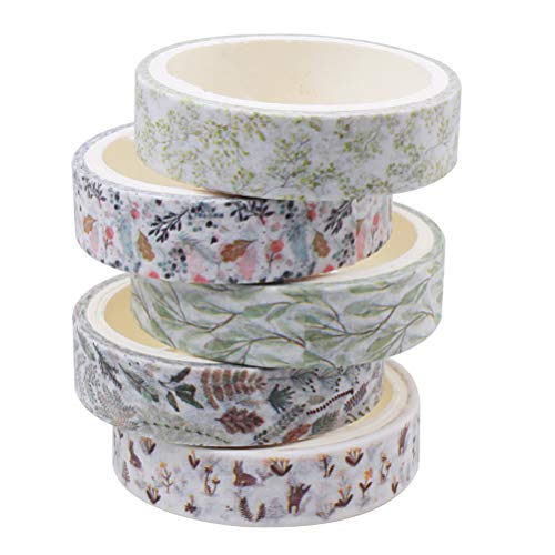 Fantye 5 Rolls Washi Tapes Set, Masking Decorative Tape Vintage Floral Washi Tape Craft Decorative Tape for Scrapbook Journals Craft Supplies (13 Yards)
