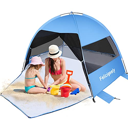 Felicigeely Large Beach Tent, Portable Sun Shelter Anti UV Beach Umbrella Baby Tent for 3-4 Person, Outdoor Beach Tents Shelter Canopy Cabana Sunshade Easy Set Up Camping Fishing Tents