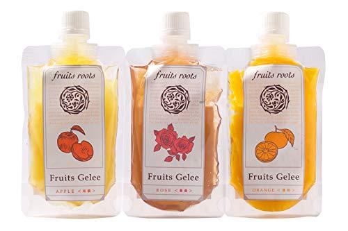フルーツルーツ フルーツジュレ3種 アップル オレンジ ローズ 国産 砂糖不使用 ゼリー fruitsroots