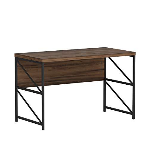VIGOR Bureau - Table d'ordinateur - Table d'étude pour bureau à domicile avec pieds en métal dans un design rustique (Noyer/Noir)