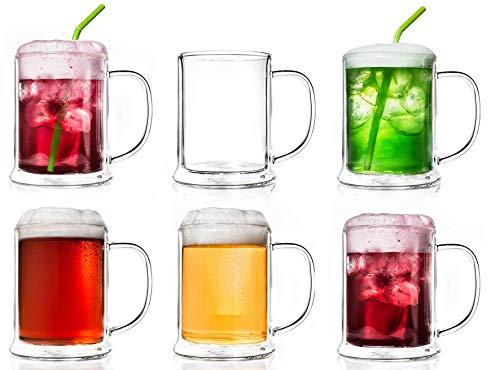 Creano Vaso de cerveza de doble pared de 500 ml, vidrio térmico,...