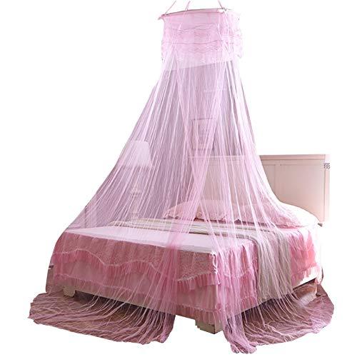 POHOVE Ciel de lit de princesse pour enfants, ciel de lit de princesse, ciel de lit en forme de dôme, ciel de lit en dentelle, ciel de lit rond, pour tous les enfants et bébés filles