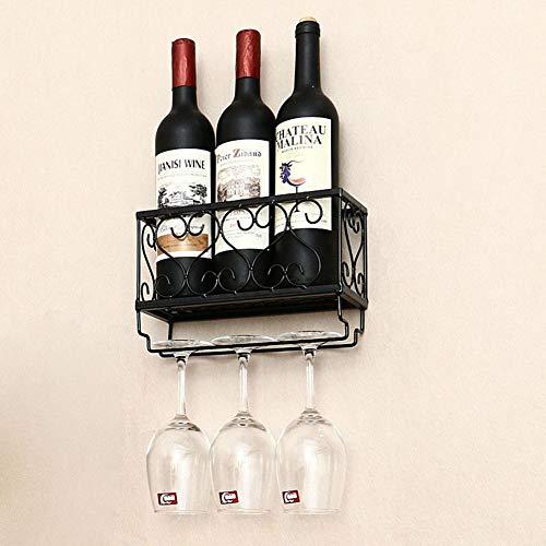 YunNasi Porta Botella de Vino, Porta Botella y Vaso de Pared,Decoraciones para el Hogar y la Cocina (Negro, 25cm)