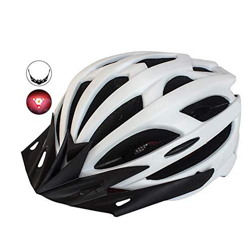 Casco Bicicleta Yuan Ou Casco de Bicicleta Casco de Ciclismo Moldeado Integrado con luz LED Casco de Bicicleta de Carretera de montaña Deporte Sombrero Seguro Blanco