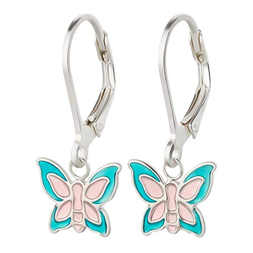SL-Silver - Orecchini da bambina a forma di farfalla, in argento sterling 925, 2 colori e Argento, colore: Rosa Blu, cod. kinderohrringe124