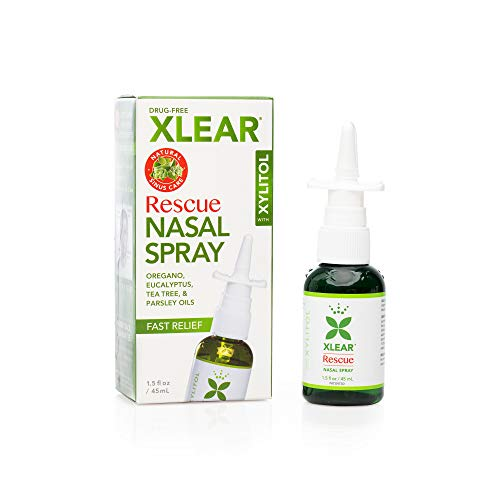 Xlear Rescue Nasal Spray with Xylitol, All-Natural Saline Nasal Spray for Sinus Rinse & Sinus Relief 1.5 Fl Oz
