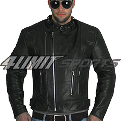 4LIMIT Sports Motorradjacke CRUISER retro oldschool Lederjacke schwarz