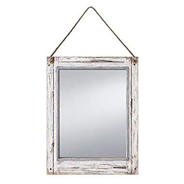 PRINZ Rustic River Mirror with Wood Border in Distressed White Finish