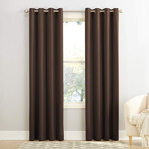"Sun Zero Barrow Energy Efficient Grommet Curtain Panel, 54"" x 84"", Chocolate Brown"