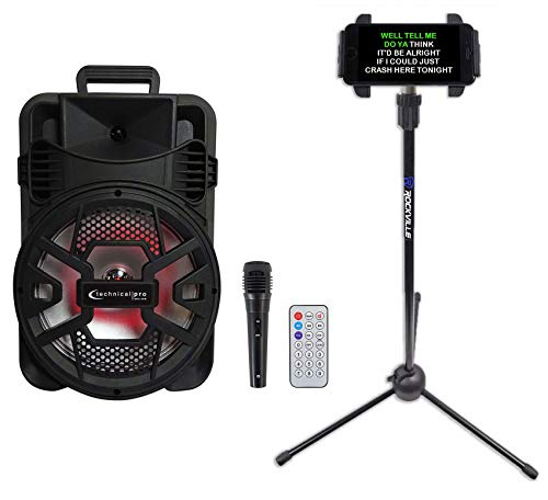Technical Pro Rechargeable Karaoke Machine w/Bluetooth+TWS+Mic+Tablet Stand