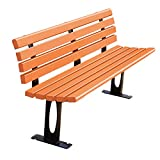3-Seater Terrace Garden Bench Outdoor Courtyard Bench, Weatherproof Lounge Benches with cast Iron Frame and anticorrosive Solid Wood, Decorated Benches with Back Porch, Can be Fixed on The Ground