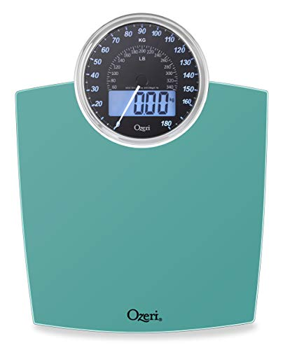 Ozeri Rev 400 lbs (180 kg) Bathroom Scale with Electro-Mechanical Weight Dial and 50 gram Sensor Technology (0.1 lbs / 0.05 kg), Teal Blue