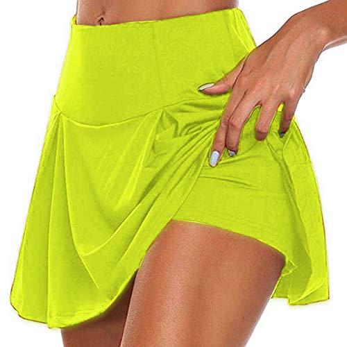 Falda para Mujer,Retro Color Sólido Mini Falda Corta Plisada Deportes Yoga Fitness Verano Cintura Alta Versátil Elástico Elegante Vestido para Mujeres Niñas Fiesta Moda Casual Ropa De Playa,Verd