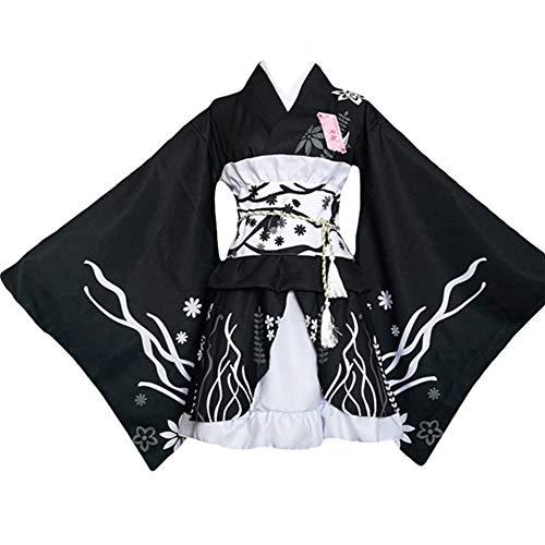 Vestido de Albornoz Kimono de Estilo japonés Anime Cosplay Yukata Series Verano de Japón Chicas Lindas Cosplay de Anime Disfraces (Negro, XL)