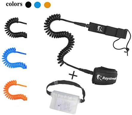 Raystreak 10' Coiled SUP Leash with Max 75% OFF Black Options RED Blue Popular brand Cuff