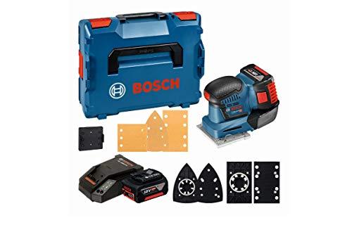 Bosch Professional 18V System Akku Schwingschleifer GSS 18V-10 (inkl. 2x5.0Ah Akku + Ladegerät, 3x Schleifblatt G120, 3x Schleifplatte, 1x Stanzwerkzeug, 1x Schraubendreher, L-BOXX 136)