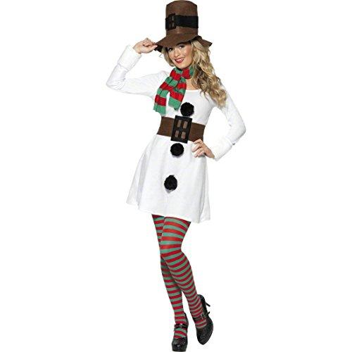 NET TOYS Déguisement Bonhomme Femme de Neige Costume de Noël Femme Déguisement de Bonhomme de Neige Costume d'hiver Costume Hiver Femme M 42/44