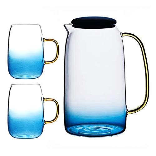 QULONG Jarra De Agua con 2 Vasos - Jarra De Vidrio De 1550 Ml para Agua Fría Y Caliente, Bebidas, Vino, Té, Café - Jarra De Borosilicato Taza De Color Degradado