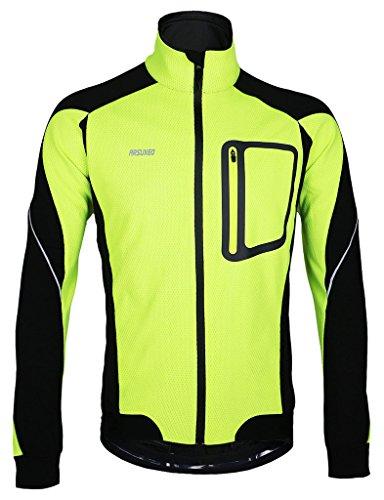 iCREAT Herren Jacke Air Jacket Winddichte wasserdichte Lauf- Fahrradjacke MTB Mountainbike Jacket Visible reflektierend, Fleece Warm Jacket für Herbst, Grün Gr.XL