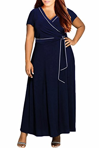 Nemidor Women's V-Neck Short Sleeves Plus Size Casual Maxi Dress (18W, Navy)