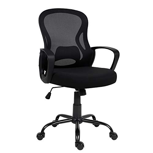 Hadwin Office Chair Black,Ergonomic Desk Chair with Armrest Executive Computer Chair with Lumbar Support Mid-Back Home Office Swivel Mesh Chair with Rocking Function