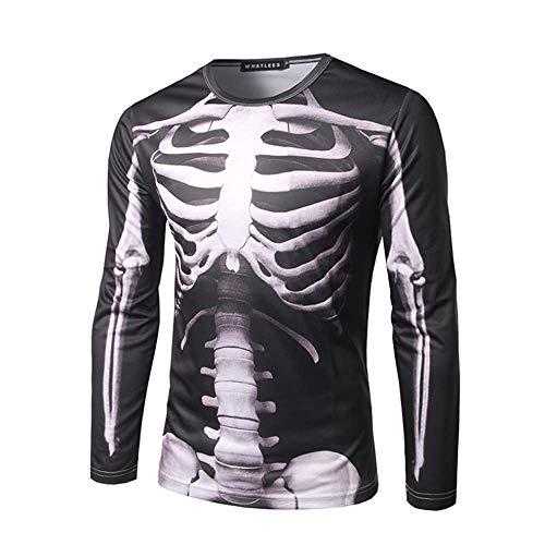 ZhongYi T-shirt met lange mouwen voor heren, 3D Perspective stereo print, ronde hals, diverse maten Large