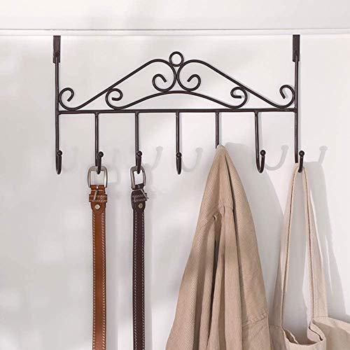 Over The Door Hook Heavy Duty Metal Door Hangers 7-Hook Door Hanging Hooks for Clothes, Towels, Coats, Scarfs and More