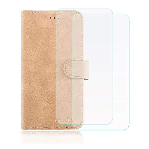 "YZKJ Funda para Elephone P8 3D Flip Folio Caja PU Cuero Caso Soporte Billetera Tapa Carcasa + [2 Piezas] Cristal Templado Protector de Pantalla para Elephone P8 3D (5.5\"") - Dorado"