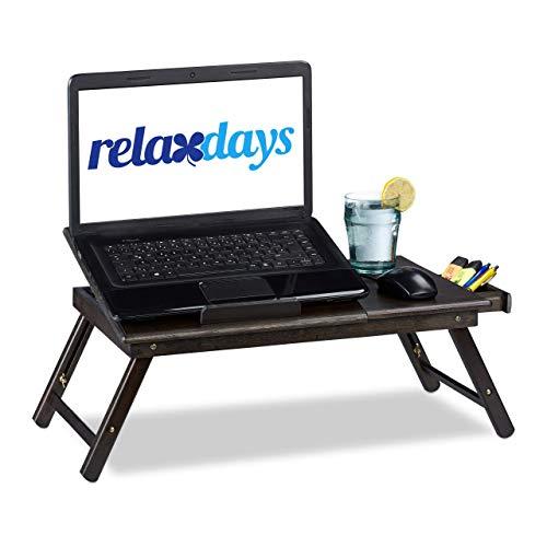 Relaxdays Bambus Laptoptisch, HBT: 24x60x35cm, höhenverstellbarer Laptopständer für Bett und Sofa, mit Schublade, braun