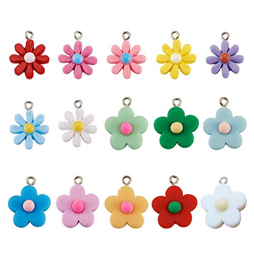 Cheriswelry 30pcs Daisy Flower Resin Pendants Charms Dangle Beads for DIY Keychain Jewellery Earring Making Hole:1.8-2mm