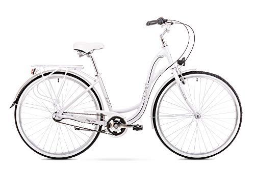 Romet SONATA 2.0 City Bike 28 Zoll Stadtfahrrad Fahrrad Citybike Cruiser Hollandrad Shimano 3 Gang 17 Zoll Aluminium Rahmen weiß-schwarz