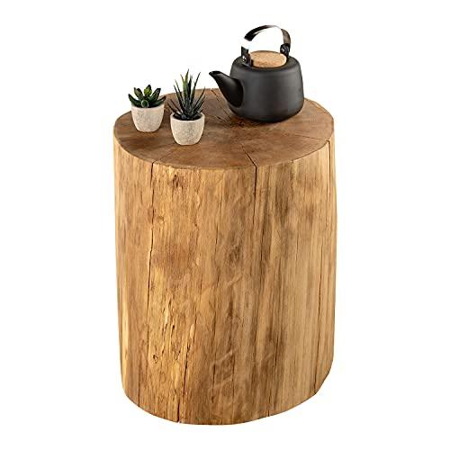 GREENHAUS Baumstamm Beistelltisch rund 40-45 cm Buche massiv Handarbeit und Massivholz aus Deutschland Holzstamm Nachttisch