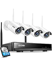 ZOSI 8CH 1080P Wireless Security Cameras System with Hard Drive 1TB,H.265+ 8Channel 1080P CCTV NVR and 4pcs 2.0MP Indoor Outdoor WiFi Surveillance Cameras,Night Vision,Motion Alert, Remote Access