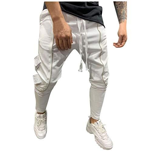 FRAUIT Pantaloni Elastico Caviglia Uomo Hip Hop Stretto Ragazzo Pantaloni Tuta Cargo con Tasche Laterali Uomini Pantalone da Lavoro Estivi Slim Fit Leggeri Elegante Jogging Running