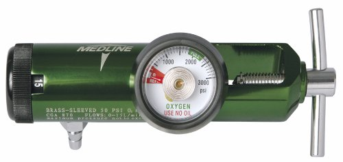 Medline HCS8715M Mini Oxygen Regulator, Latex Free, 0-15 Liters per Minute, 870 CGA Connection, Brass Sleeve
