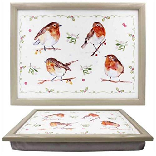 Lesser & Pavey Winter Robins Padded Lap Tray TV Dinner laptop Cushion Laptray Robin bird lover gift