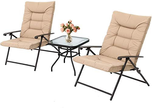 Skiway 3-Piece Patio Padded Folding Chair, Outdoor Adjustable Reclining Bistro Set with Glass Table for Porch, Deck, Balcony or Yard (Beige)